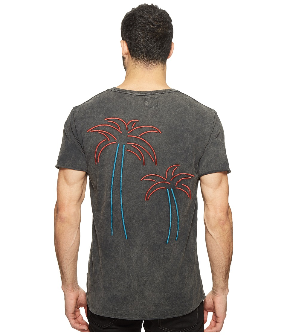 nANA jUDY - The Hotel California Tee Palms Embroidery Series (Vintage Black Tee) Men's T Shirt
