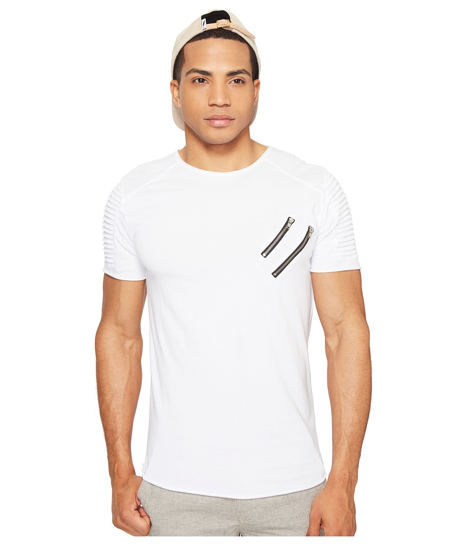 nANA jUDY - The Fast Lane Moto Zipper Pocket Tee with 3D Pin Tuck Pleat (White) Men's T Shirt