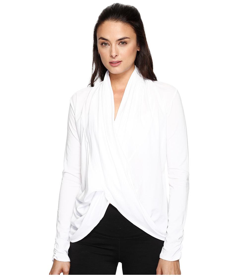 Manduka - Long Sleeve Twist Front Top (White) Women's Clothing