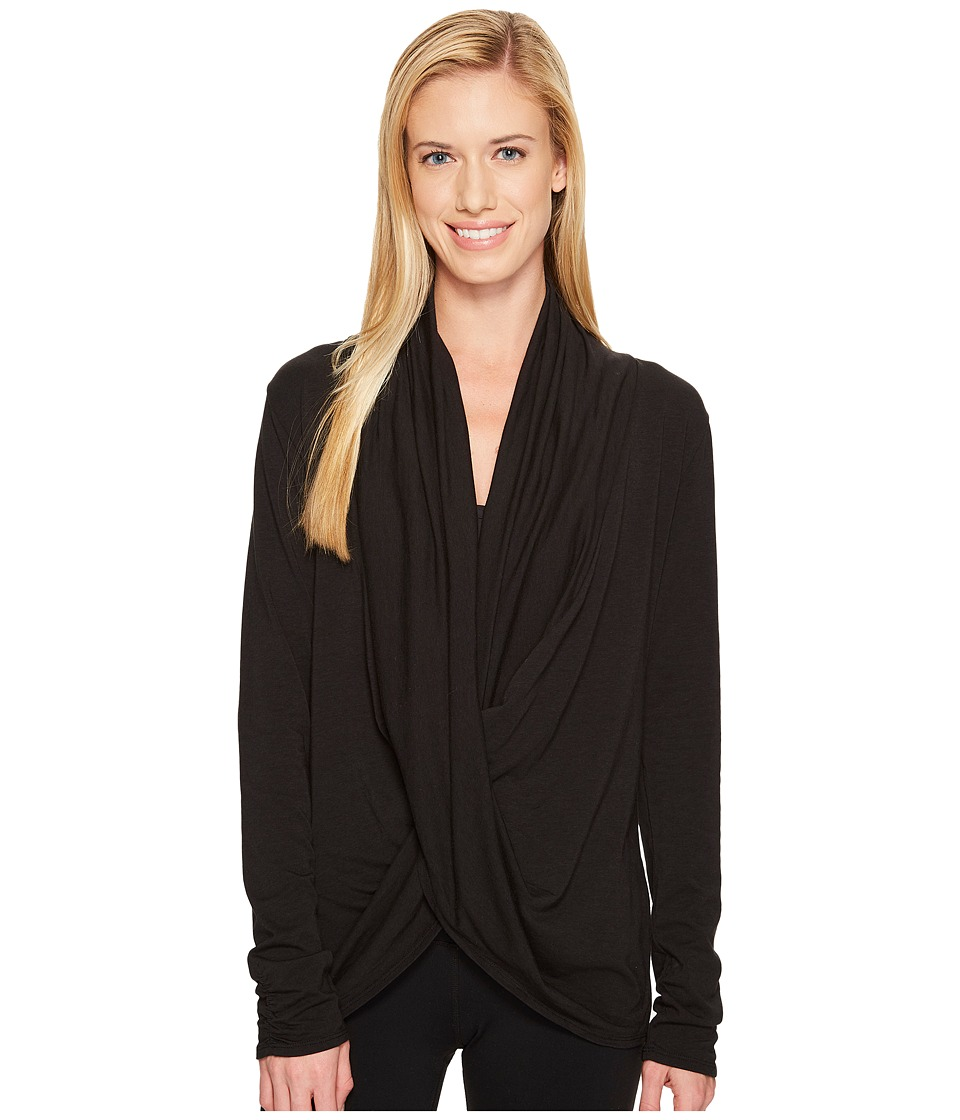 Manduka - Long Sleeve Twist Front Top (Black) Women's Clothing