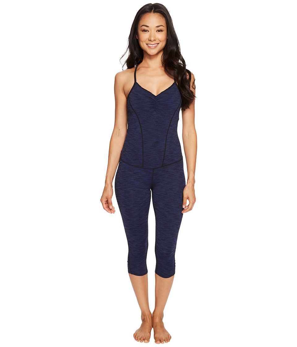 Manduka - The Cropped Uni (Blue Melange) Women's Jumpsuit & Rompers One Piece