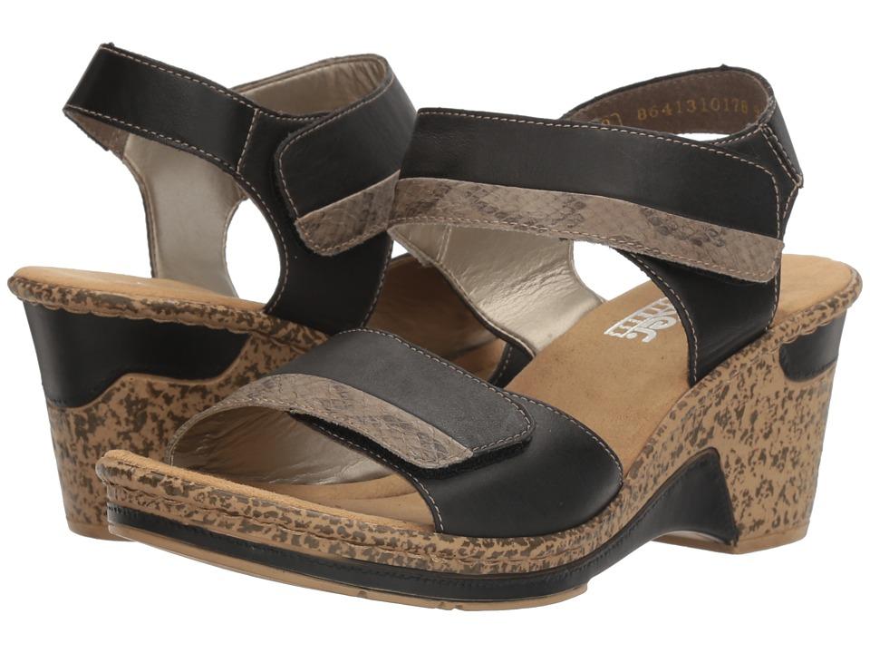 Rieker - 60672 Roberta 72 (Schwarz/Leinen/Schwarz) Women's Sandals
