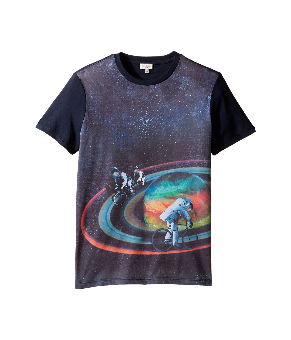Paul Smith Junior - Short Sleeve All Over Planet Tee (Big Kids) (Navy) Boy's T Shirt