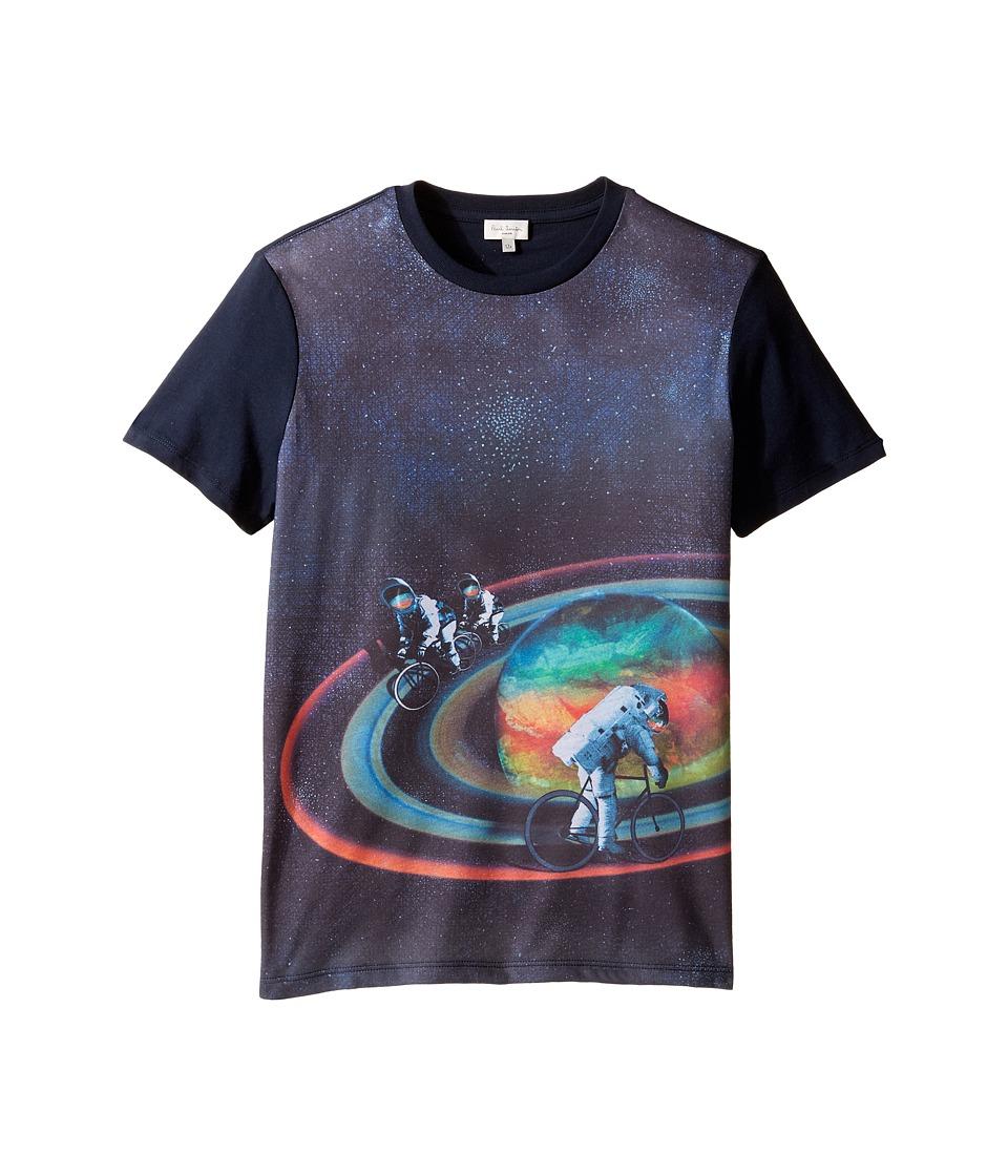 Paul Smith Junior - Short Sleeve All Over Planet Tee (Big Kids) (Navy) Boy's T Shirt