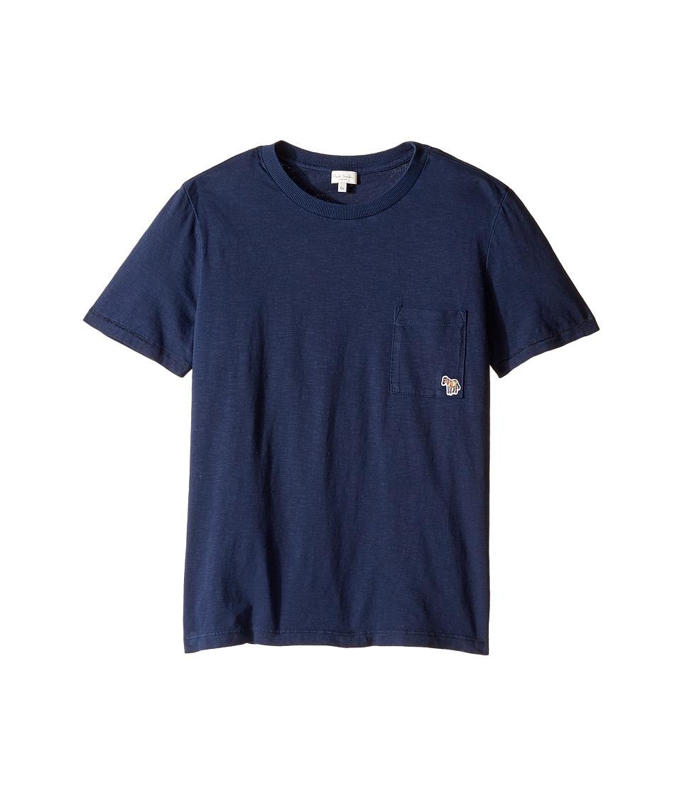 Paul Smith Junior - Short Sleeve Plain Tee with Pocket (Big Kids) (Navy) Boy's T Shirt