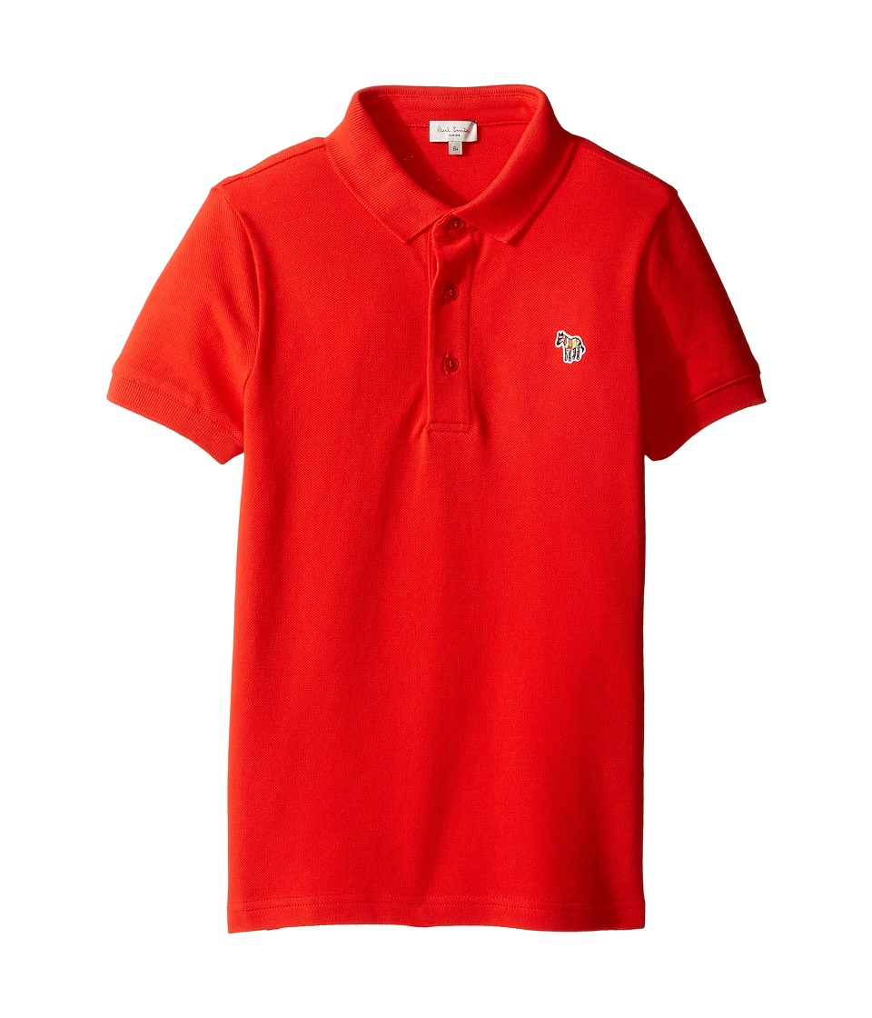 Paul Smith Junior - Short Sleeve Plain Red Polo (Big Kids) (Fire Red) Boy's Short Sleeve Knit