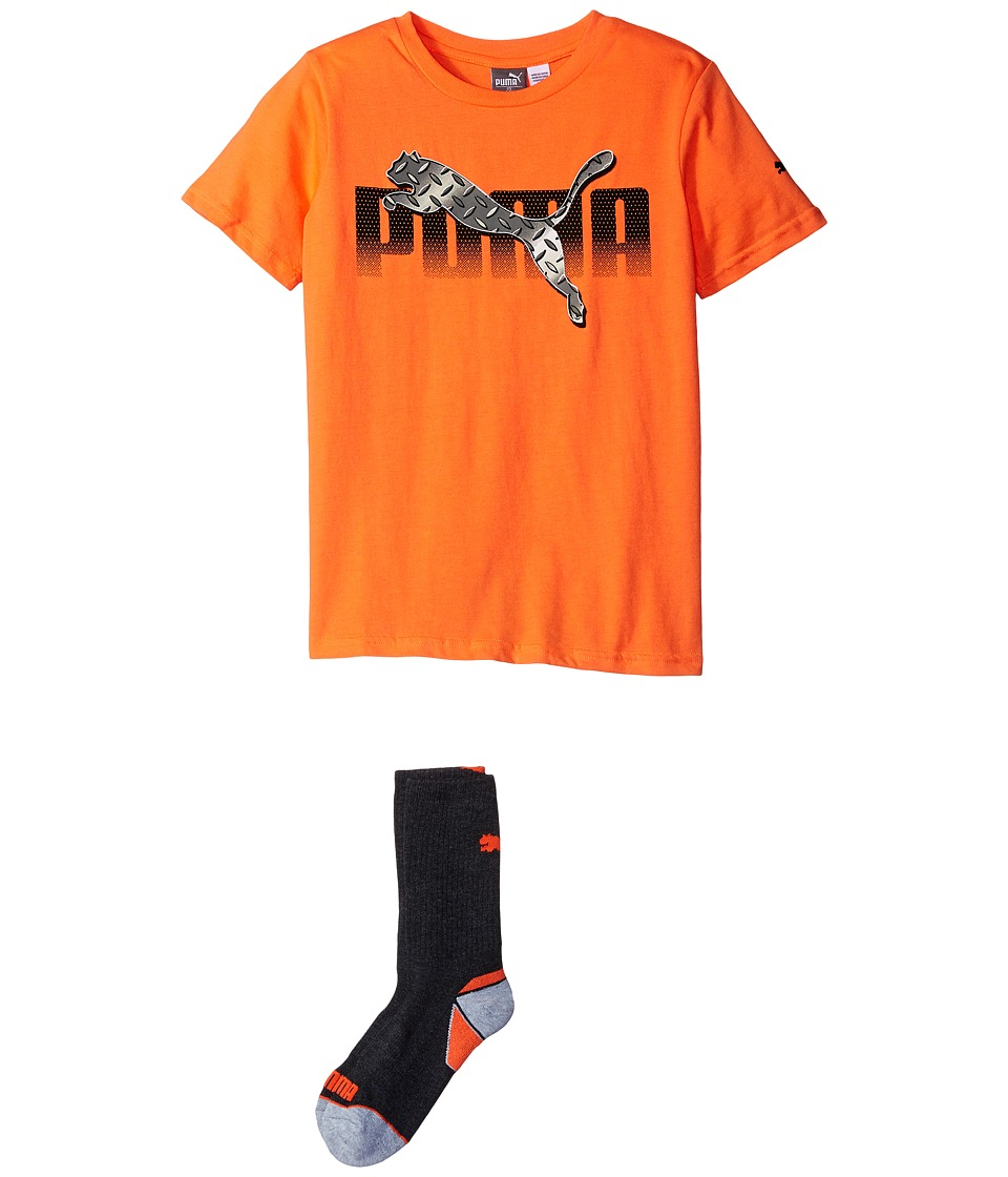 Puma Kids - Graphic Tee Sock Set (Little Kids/Big Kids) (Fire Orange) Boy's Active Sets