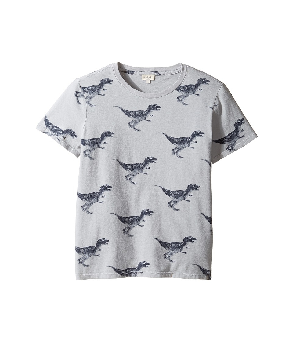 Paul Smith Junior - Short Sleeve Dinosaur All Over Printed Tee (Big Kids) (Light Grey) Boy's T Shirt