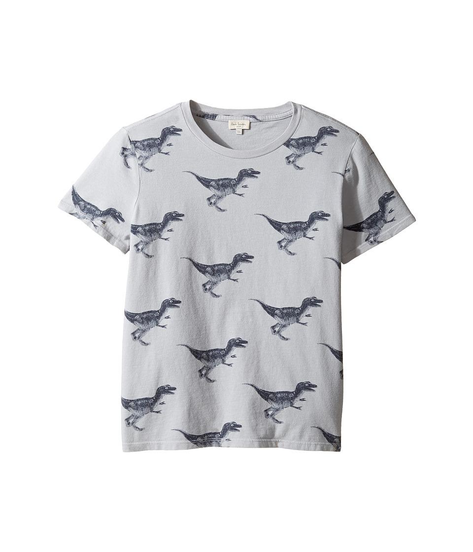 Paul Smith Junior - Short Sleeve Dinosaur All Over Printed Tee (Big Kids) (Light Grey) Boy's T Shirt