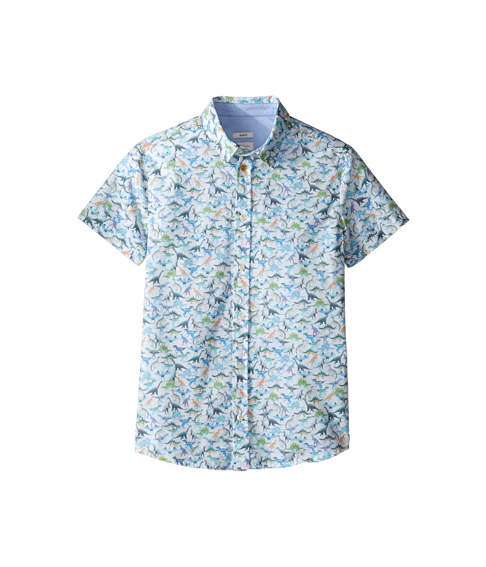 Paul Smith Junior - Short Sleeve Dinosaur All Over Printed Shirt (Big Kids) (White) Boy's T Shirt