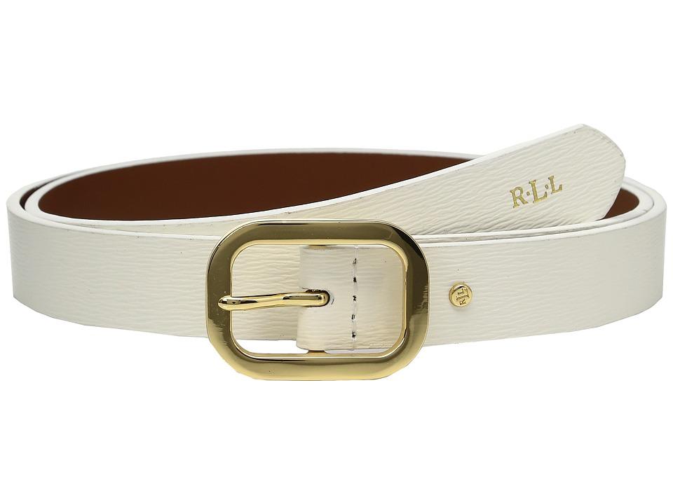 LAUREN Ralph Lauren - Classics Saffiano Dress Belt (Vanilla) Women's Belts