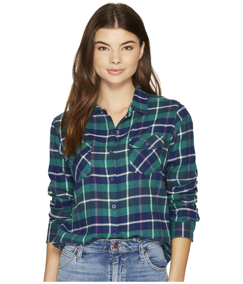 Volcom - New Flame Long Sleeve Shirt (Midnight Green) Women's Long Sleeve Button Up