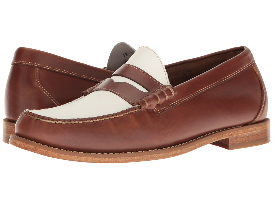 G.H. Bass & Co. - Larson Weejuns (Saddle Tan/White Pull-Up) Men's Slip-on Dress Shoes