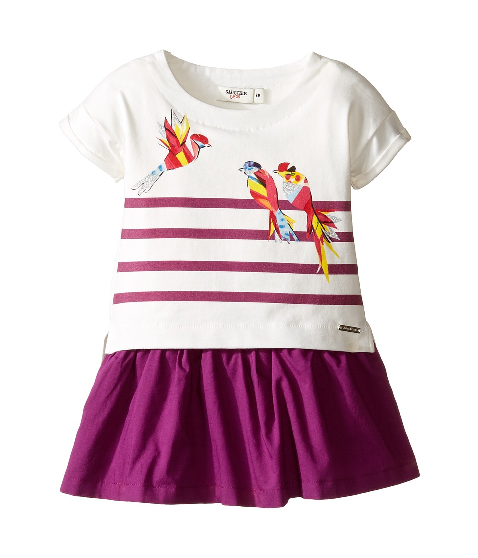 Junior Gaultier - Stripe Dress with Bird (Infant) (Ecru) Girl's Dress