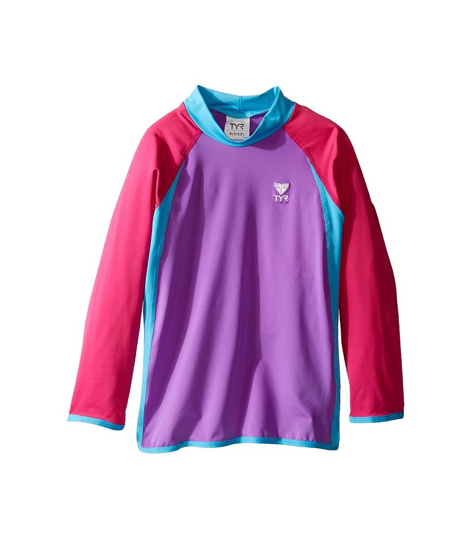 TYR Kids Solid Rashguard (Little Kids/Big Kids) (Purple/Pink/Blue) Girl
