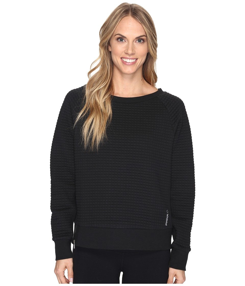Reebok - Elements Quilted Crew Sweatshirt (Black) Women's Sweatshirt