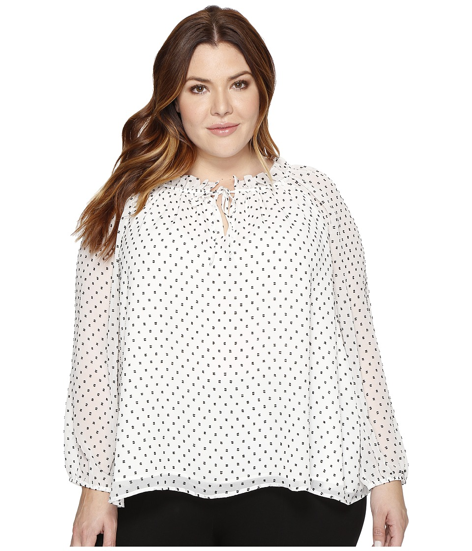 NYDJ Plus Size - Plus Size Stella Clipped Jacquard Blouse (Natural Black) Women's Blouse