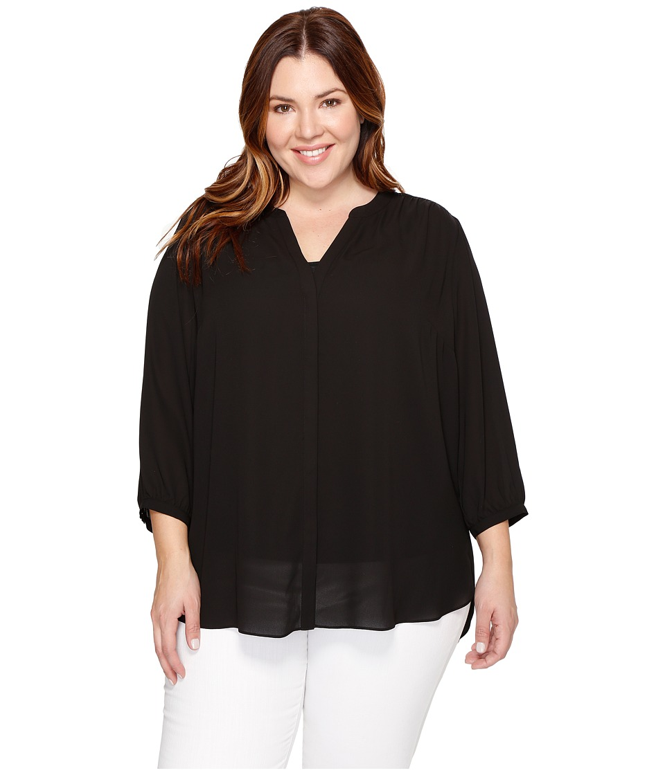 NYDJ Plus Size - Plus Size Pintuck Blouse (Black) Women's Blouse