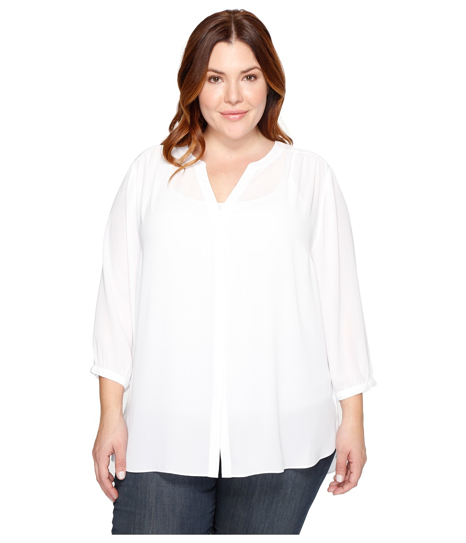 NYDJ Plus Size - Plus Size Pintuck Blouse (Optic White) Women's Blouse