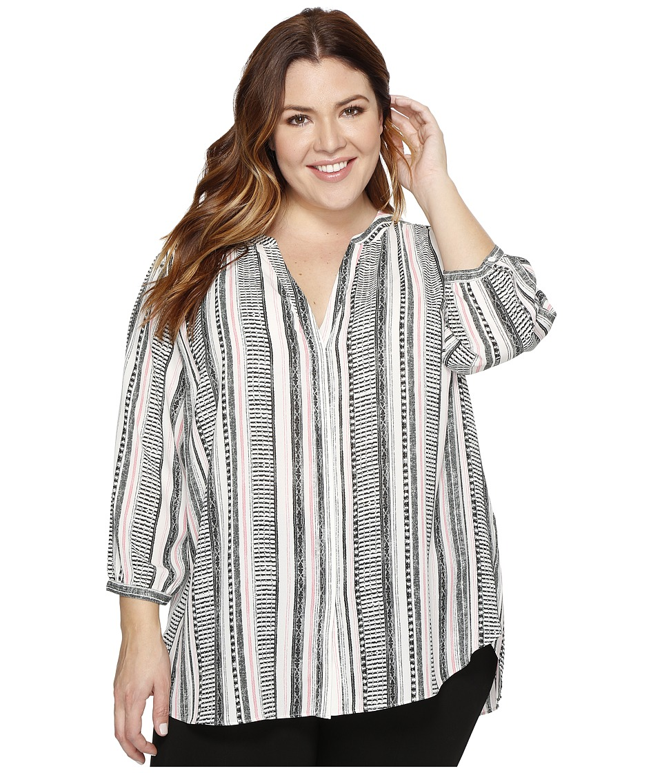 NYDJ Plus Size - Plus Size Pintuck Blouse (St Germaine Stripe Natural) Women's Blouse