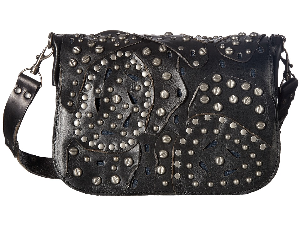 Patricia Nash - Rosa Square Flap Saddle Bag (Black 1) Bags