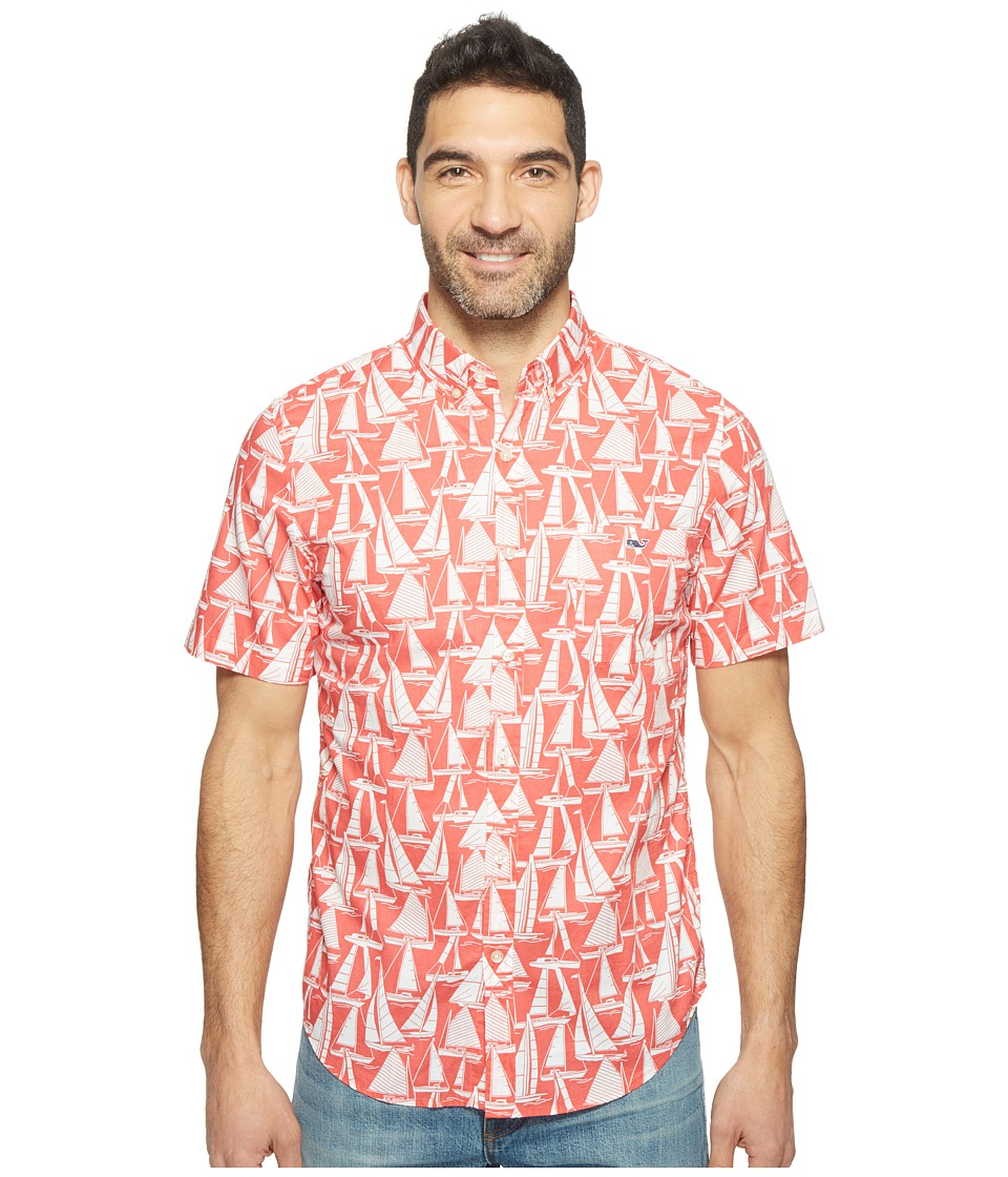 Vineyard Vines - Short Sleeve Boats Printed Slim Tucker Shirt (Jetty Red) Men's Clothing