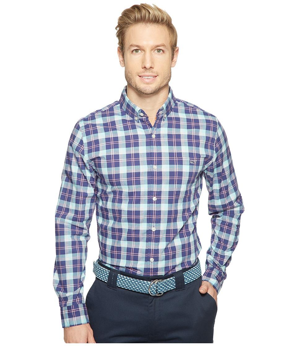 Vineyard Vines - Cappoons Plaid Slim Tucker Shirt (Deep Cobalt) Men's Clothing