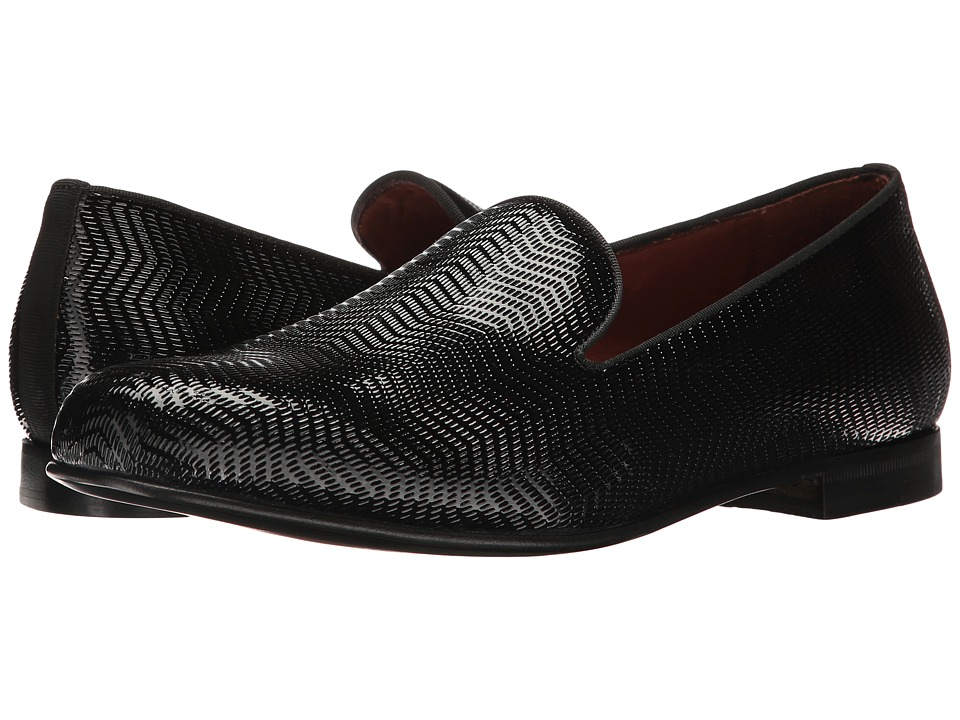 Massimo Matteo - Textured Parent Slip-On (Black Patent) Men's Slip on Shoes