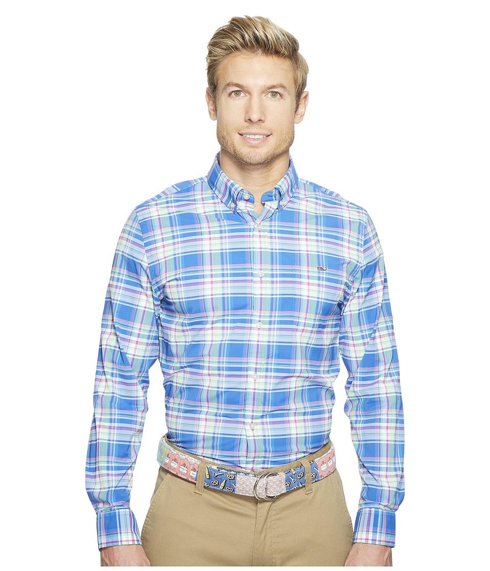 Vineyard Vines - North Swell Plaid Slim Tucker Shirt (Kingfisher) Men's Clothing