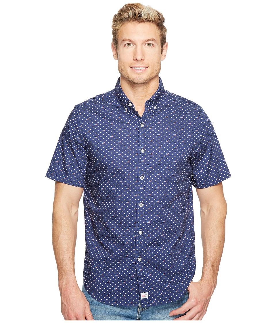 Vineyard Vines - Short Sleeve Flag Whale and Star Tucker Shirt (Deep Cobalt) Men's Clothing