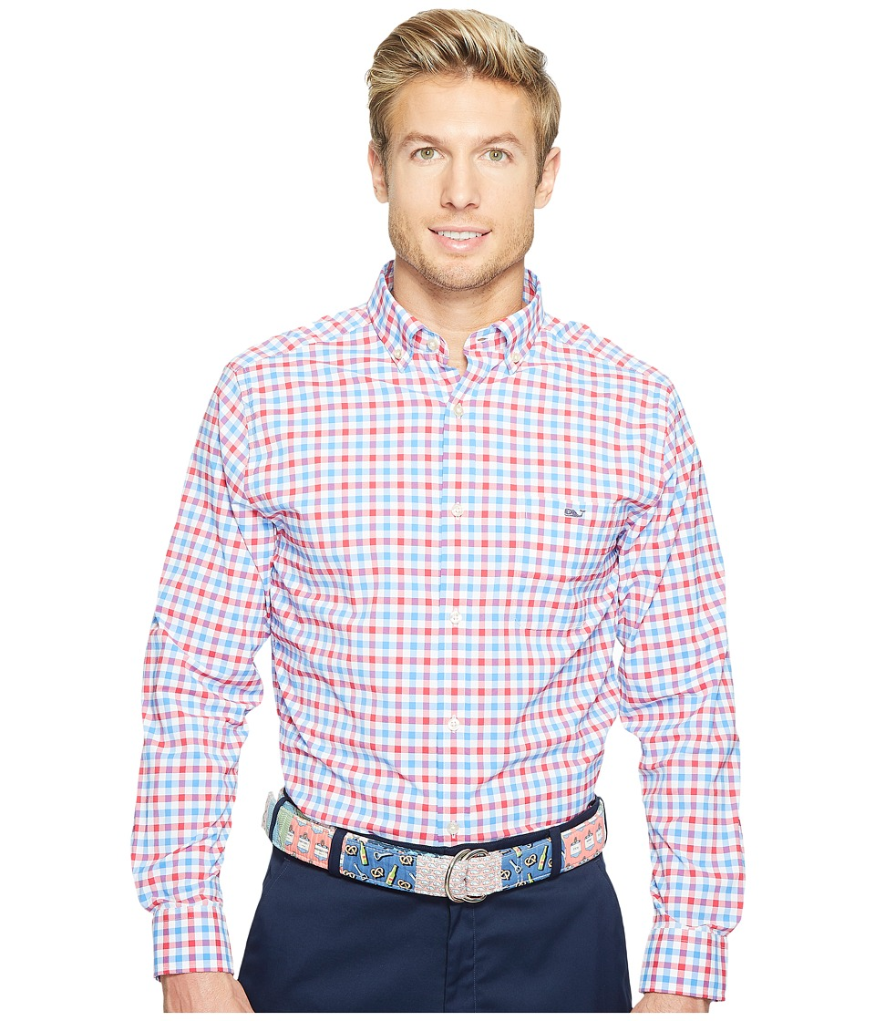 Vineyard Vines - Reef Shark Gingham Classic Tucker Shirt (Parade Red) Men's Clothing