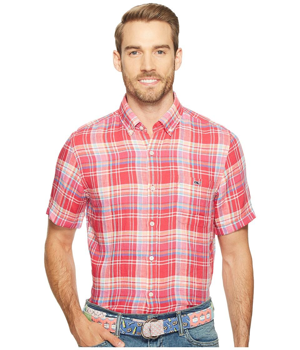 Vineyard Vines - Short Sleeve Beach Rose Plaid Tucker Shirt (Pink Sky) Men's Clothing