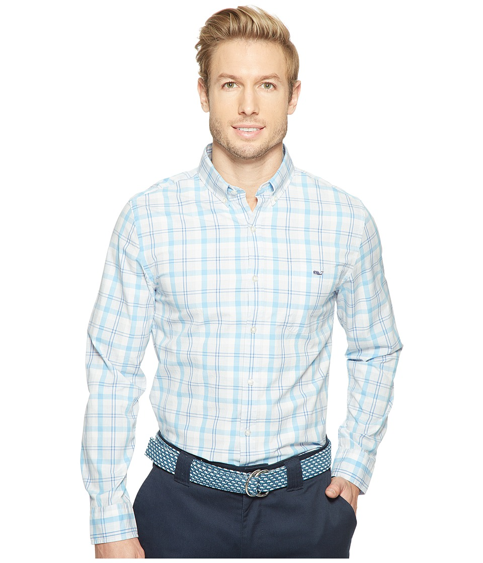 Vineyard Vines - Stony Bay Plaid Slim Tucker Shirt (Ocean Breeze) Men's Clothing