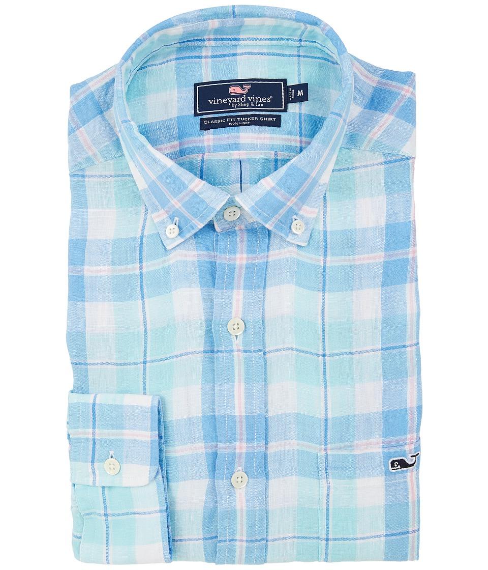 Vineyard Vines - Upper Bluff Plaid Classic Tucker Shirt (Pool Side) Men's Clothing