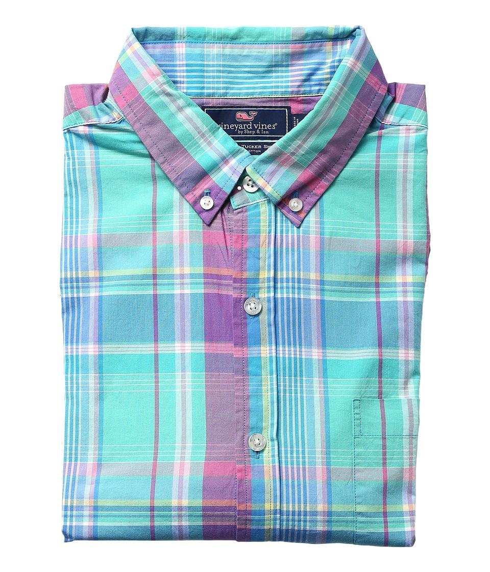 Vineyard Vines - North Hill Plaid Slim Tucker Shirt (Capri Blue) Men's Clothing