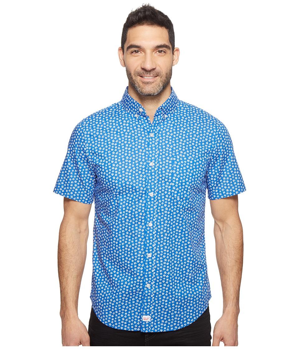 Vineyard Vines - Short Sleeve Woodblock Floral Slim Murray Shirt (Kingfisher) Men's Clothing