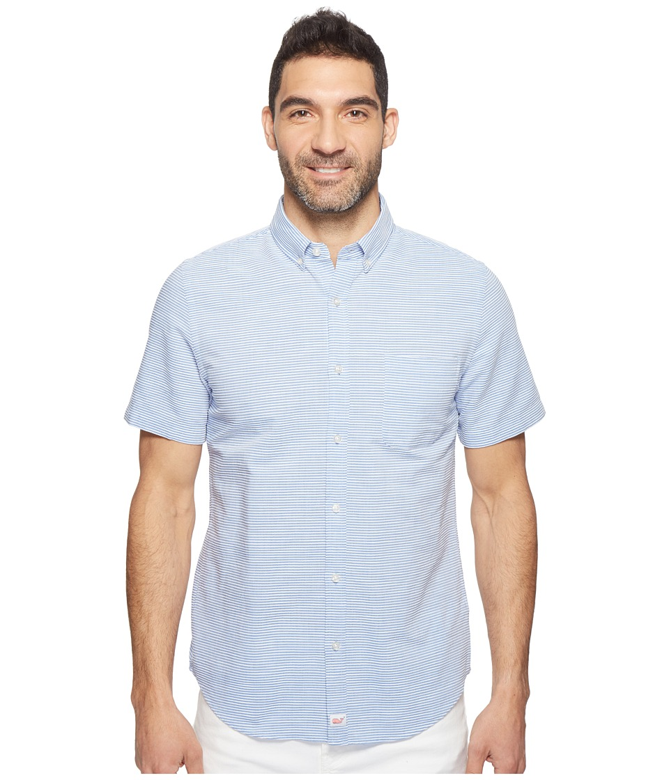 Vineyard Vines - Short Sleeve Norman Island Stripe Murray Shirt (Ocean Breeze) Men's Clothing