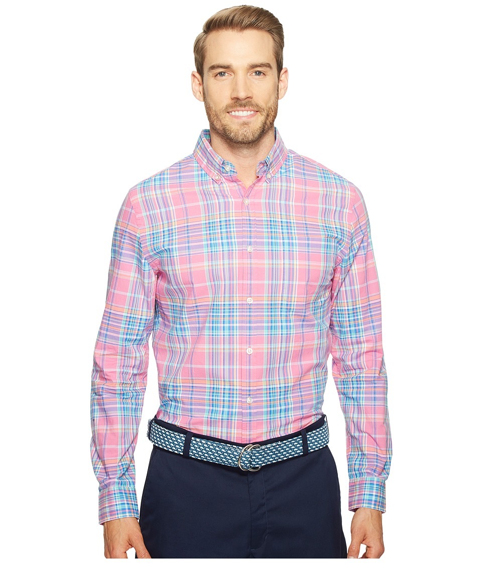 Vineyard Vines - Coral Cliff Plaid Slim Murray Shirt (Light Magenta) Men's Clothing