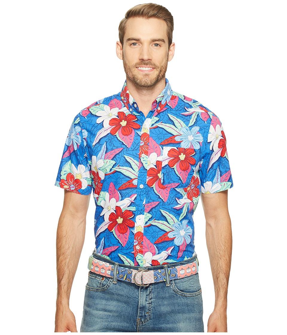 Vineyard Vines - Short Sleeve Beach Floral Murray Shirt (Kingfisher) Men's Clothing