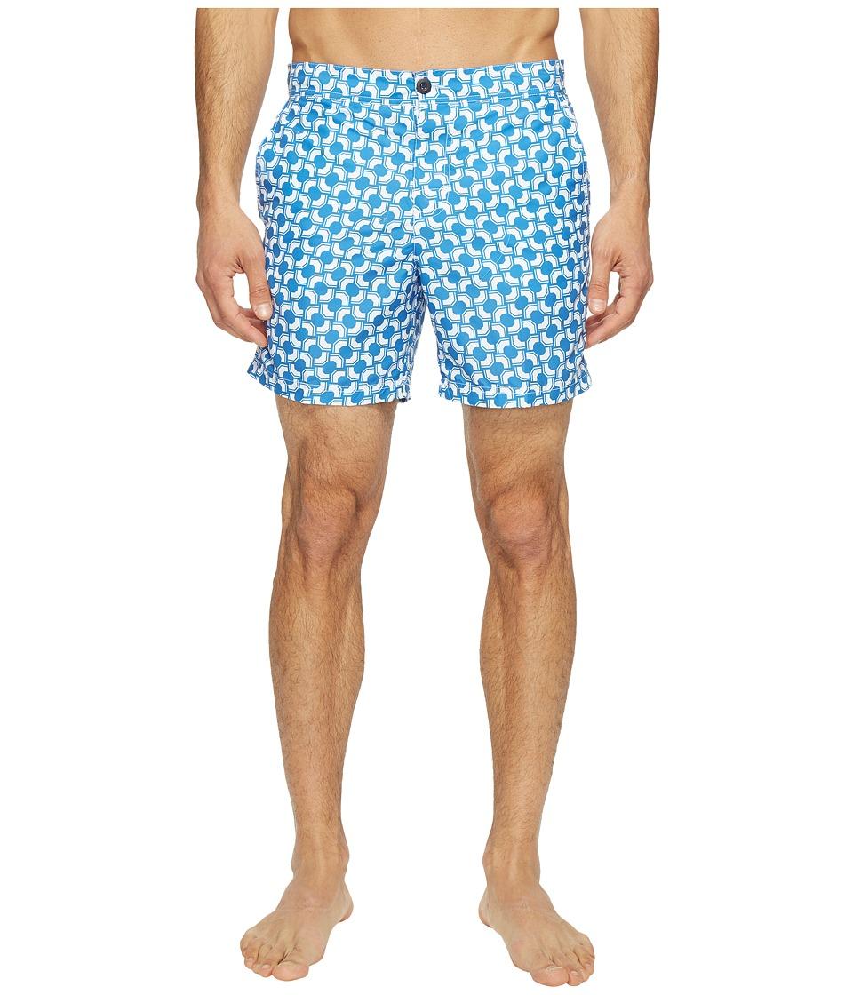 Ben Sherman - Optical Mod Stripe Effect Print Swimsuit (Summer Sky) Men's Swimwear