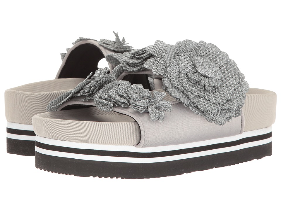 Suecomma Bonnie - Flower Detailed Flat Platform (Grey) Women's Sandals