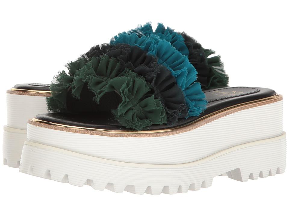 Suecomma Bonnie - Frill Detailed High Platform (Green) Women's Sandals