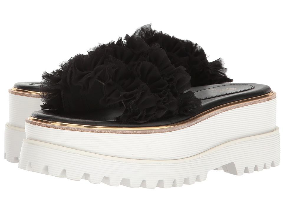 Suecomma Bonnie - Frill Detailed High Platform (Black) Women's Sandals