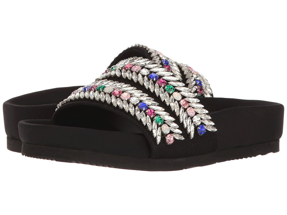 Suecomma Bonnie Jewel Detailed Flat Sandal (Multi Black) Women