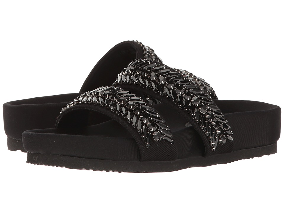 Suecomma Bonnie - Jewel Detailed Flat Sandal (Black) Women's Sandals