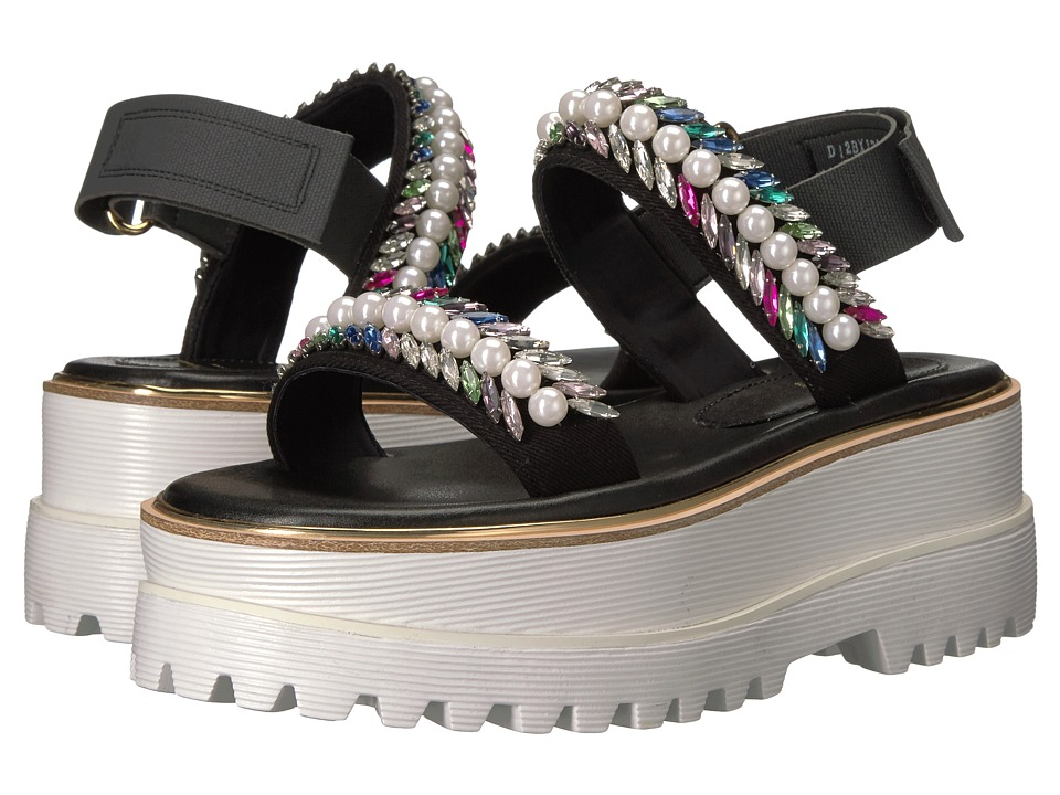 Suecomma Bonnie - Jewel Detailed High Platform (Black) Women's Sandals
