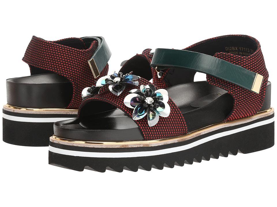 Suecomma Bonnie - Flower Ornament Platform Sandal (Red) Women's Sandals