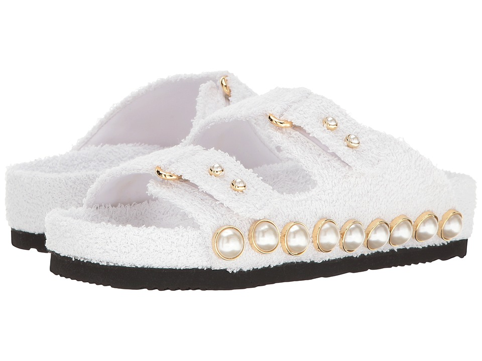 Suecomma Bonnie - Jewel Ornament Cotton Slide Sandal (White) Women's Sandals