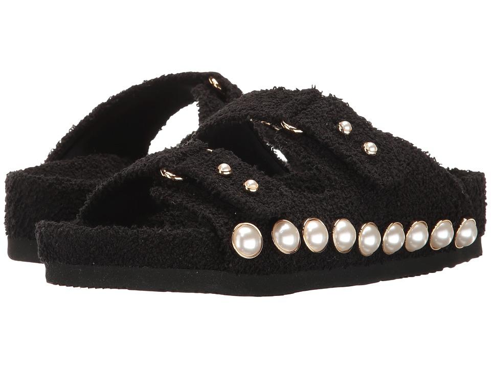 Suecomma Bonnie - Jewel Ornament Cotton Slide Sandal (Black) Women's Sandals