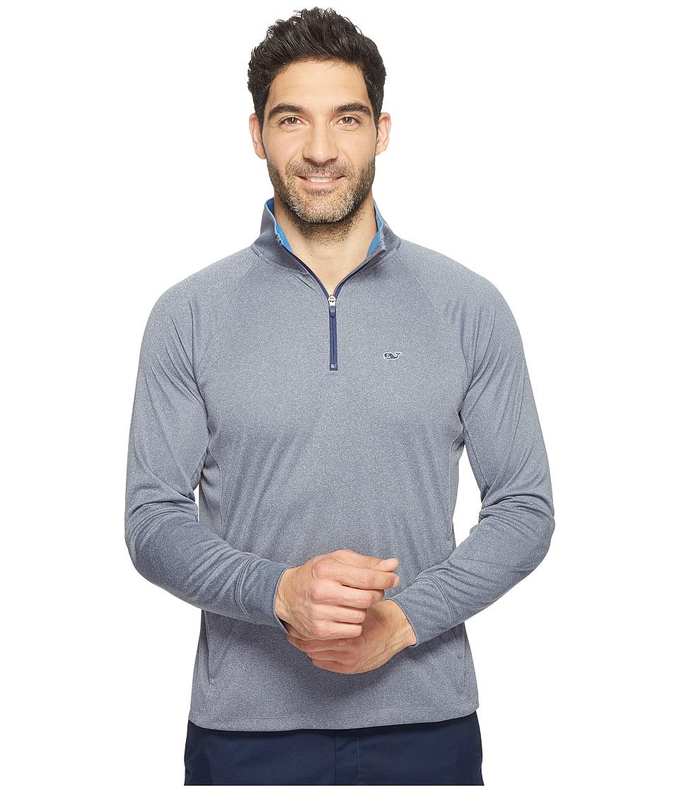 Vineyard Vines Golf - Nine Mile Heather 1/4 Zip Performance Shirt (Night Bay) Men's Clothing